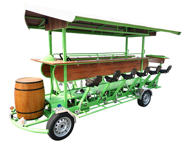BE-S03A 15 seat New Green color Beer bike with Barrels